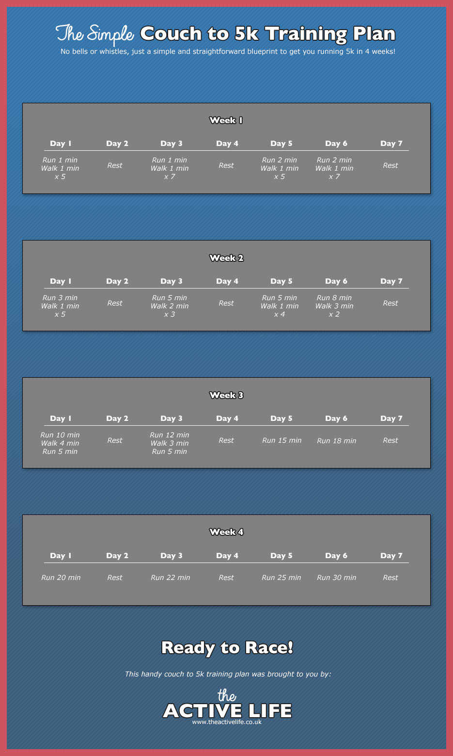 Simple couch to 5k training schedule