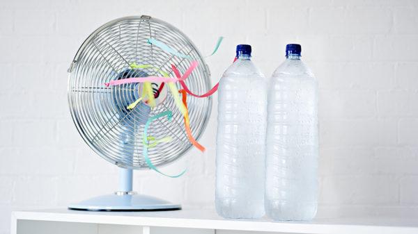 ice in front of fan